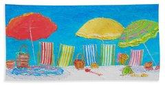 Beach Painting - Deck Chairs Beach Sheet by Jan Matson
