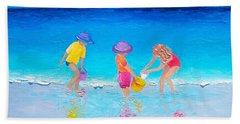 Beach Painting - Water Play  Beach Sheet by Jan Matson