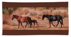 Beach Ponies - Wild Horses In The Dunes Beach Towel