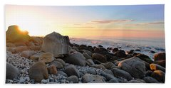 Beach Sunrise Over Rocks Beach Towel by Matt Harang