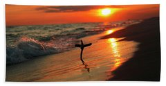 Beach Sunset And Cross Beach Towel