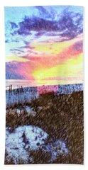 Beach Sunset Beach Sheet by Susan Leggett
