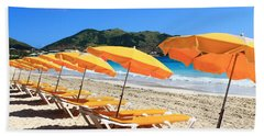 Beach Umbrellas Beach Towel by Catie Canetti