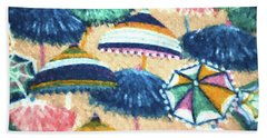 Beach Towel featuring the painting Beach Umbrellas Patterns by Sandi OReilly