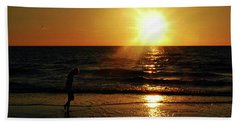 Beach Walking Beach Towel by Gary Wonning