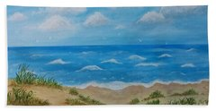 Beach Towel featuring the painting Beach Waves by Sonya Nancy Capling-Bacle