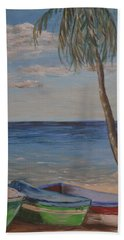 Beach Towel featuring the painting Beached by Debbie Baker