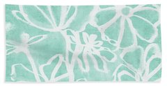 Beach Towel featuring the mixed media Beachglass And White Flowers 2- Art By Linda Woods by Linda Woods