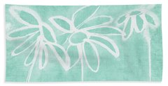 Beach Towel featuring the mixed media Beachglass And White Flowers 3- Art By Linda Woods by Linda Woods