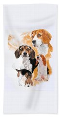 Beagle W/ghost Beach Towel by Barbara Keith