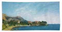 Beach Towel featuring the painting Bealieu - The Bay Of Fourmis by Eugene Boudin