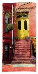 Beantown Brownstone With Yellow Doors Beach Sheet