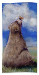 Beach Sheet featuring the pastel Bear And Butterfly by Billie Colson