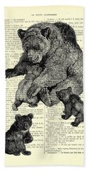 Bear And Cubs Black And White Antique Illustration Beach Towel
