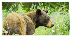 Bear In Flowers Beach Towel