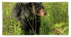 Beach Towel featuring the photograph Bear In The Grass by Coby Cooper