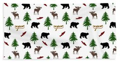 Beach Towel featuring the mixed media Bear Moose Pattern by Christina Rollo