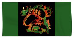 Emerald Bear Paw  Beach Towel by Larry Campbell