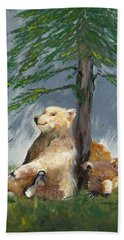 Bears And Tree Beach Towel