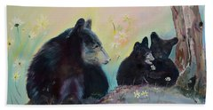 Beach Sheet featuring the painting Bears Frolicking In Spring by Jan Dappen