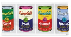 Beatle Soup Cans Beach Towel
