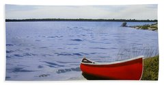 Beaultiful Red Canoe Beach Towel