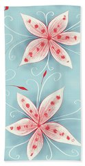 Beautiful Abstract White Red Flowers Beach Towel