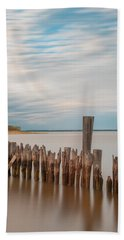 Beautiful Aging Pilings In Keyport Beach Sheet by Gary Slawsky