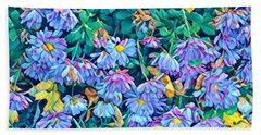 Beautiful Baby Blues - The Flowers Of Spring Beach Sheet by Miriam Danar