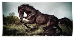 Beautiful Black Stallion Horse Running On The Stormy Sky Beach Towel