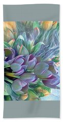 Beautiful Blues Of Spring - Tulips Beach Sheet by Miriam Danar