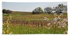 Beautiful California Vineyard Framed With Flowers Beach Towel