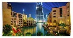 Beautiful Downtown Area In Dubai At Night, Dubai, United Arab Emirates Beach Towel