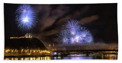 Beach Towel featuring the painting Beautiful Fireworks In Budapest Hungary by Odon Czintos