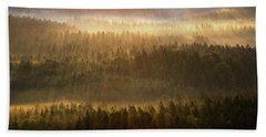 Beautiful Foggy Forest During Autumn Sunrise, Saxon Switzerland, Germany Beach Towel