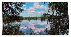 beautiful forest lake in Sunny summer day Beach Sheet