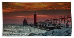 Sunset At Grand Haven Pier Beach Towel