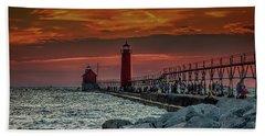Sunset At Grand Haven Pier Beach Sheet