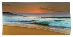 Beautiful Hazy Sunrise Seascape  Beach Towel