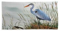 Beautiful Heron Shore Beach Towel