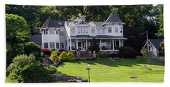 Beach Sheet featuring the photograph Beautiful Home On Lake Hopatcong by Maureen E Ritter