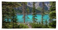 Beautiful Lake Moraine Beach Towel by Patricia Hofmeester