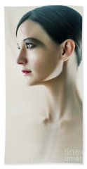 Beach Sheet featuring the photograph Beautiful Model Highkey Fashion Studio Portrait by Dimitar Hristov