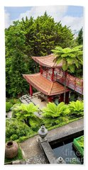 Beautiful Pagoda In Tropical Garden Beach Towel