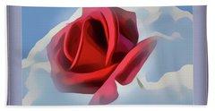 Beautiful Red Rose Cuddled By Cumulus Beach Sheet
