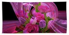 Beautiful Rose Bouquet Montage Beach Sheet