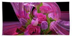 Beautiful Rose Bouquet Montage Beach Sheet