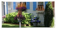 Beautiful Ship Flower Boxes 2 Beach Sheet by Living Color Photography Lorraine Lynch