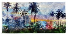 Beautiful South Beach Watercolor Beach Towel