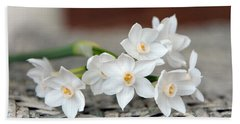 Beautiful Spring Paperwhites Beach Towel by Carla Parris